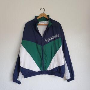 Vintage 90s Reebok Logo Spellout Lined Windbreaker